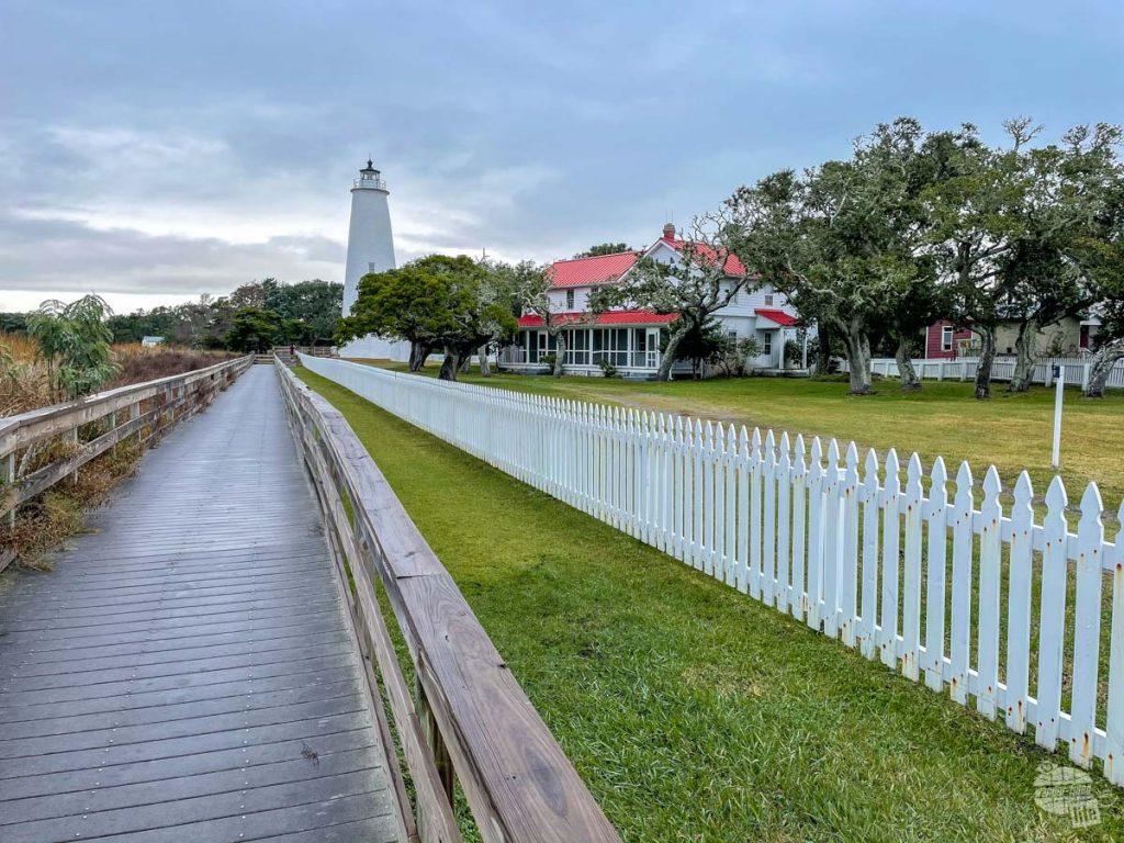 The white brick Ocracoke Lighthouse.