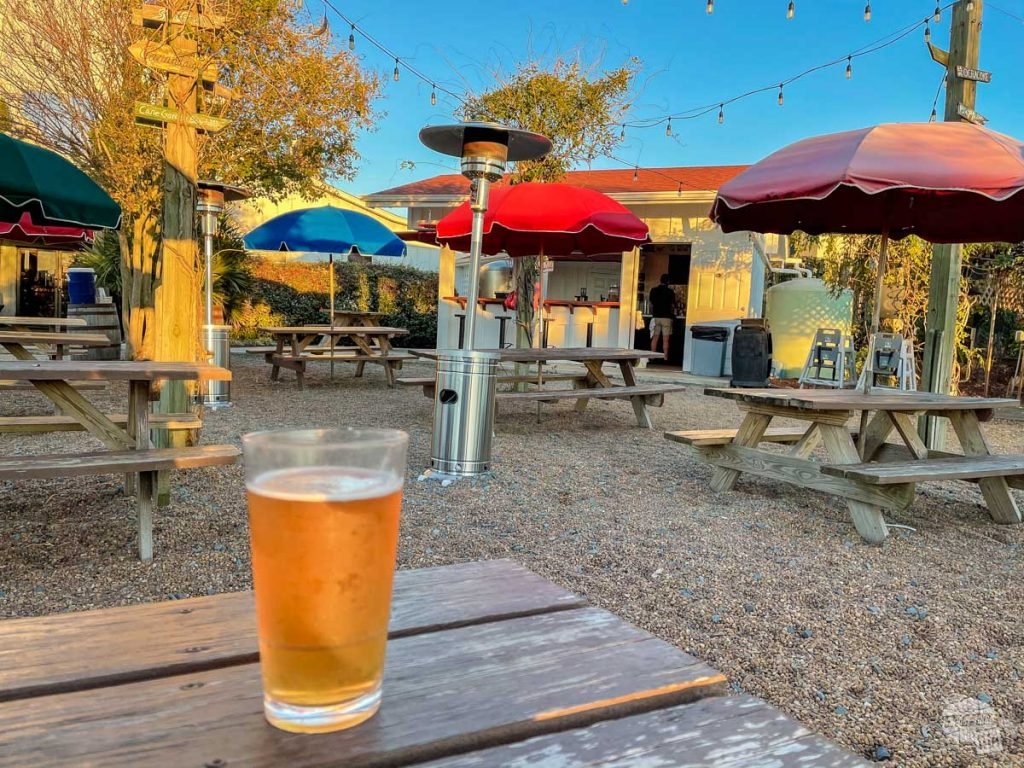 The outdoor space at Outer Banks Brewing was perfect for dinner during our national parks visit.