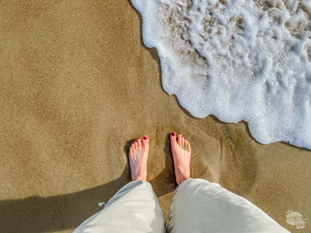 When your'e in the Outer Banks you just have to stick your toes in the water even if its a little cold.