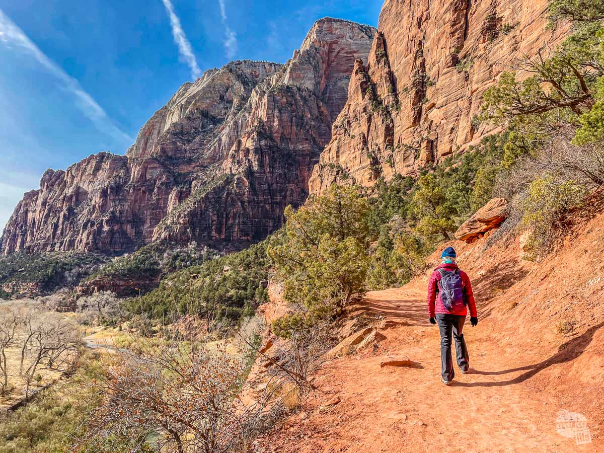 Hiking the Kayenta Trail at Zion National Park.