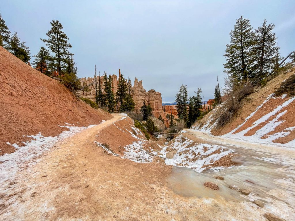 Icy trail at Bryce Canyon in December.