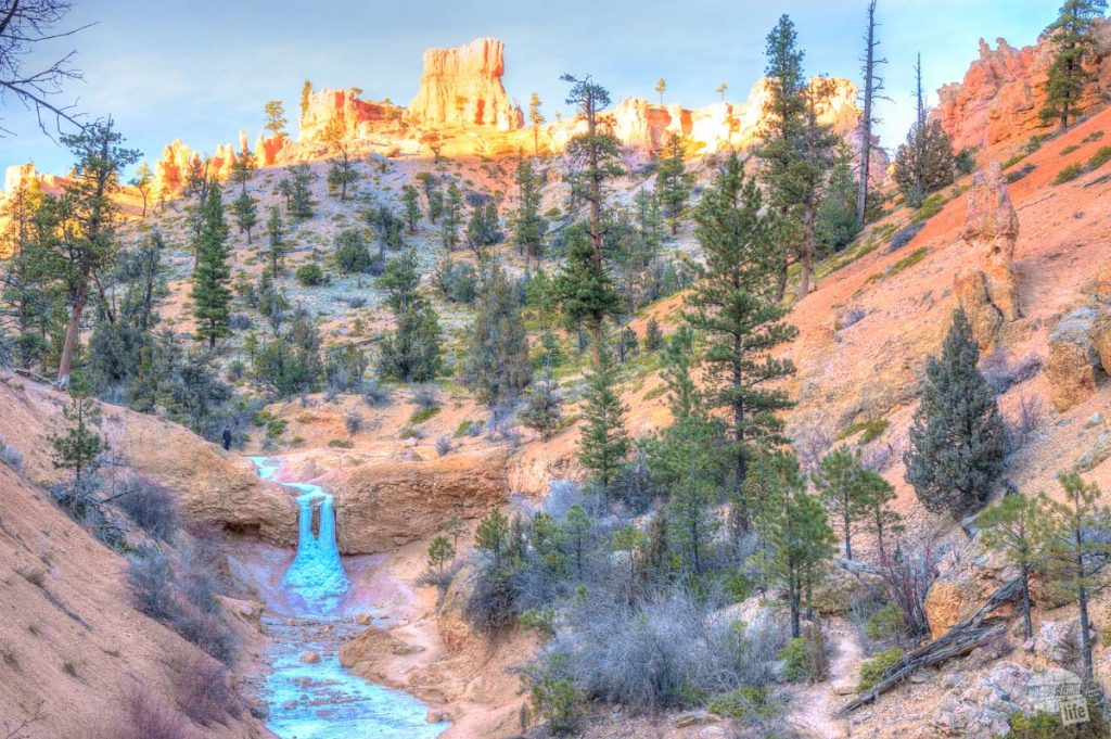 Frozen waterfall near Mossy Cave at Bryce Canyon in December.