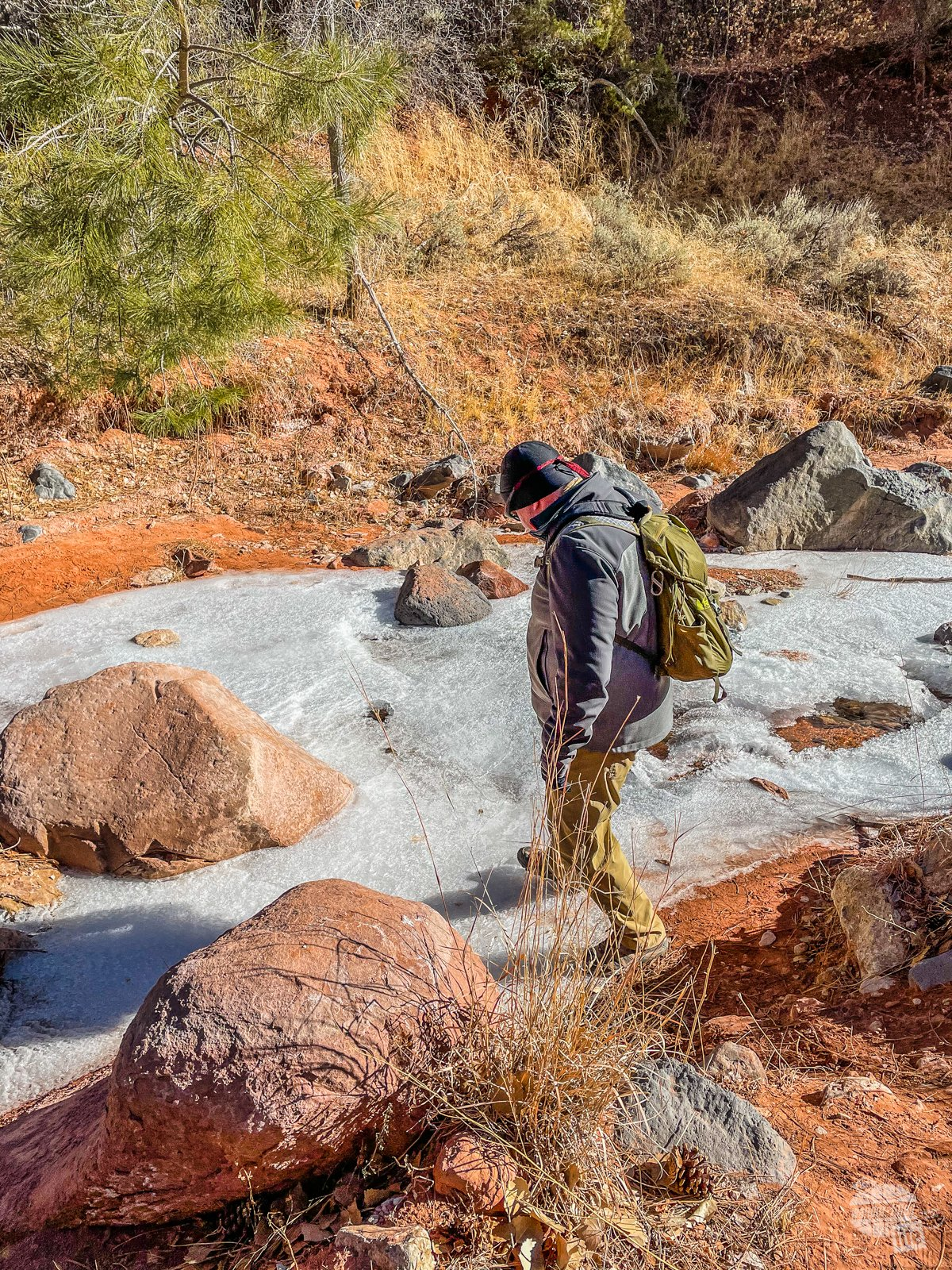 Grant attempts to cross the iced Taylor Creek at Kolob Canyons in Zion National Park.