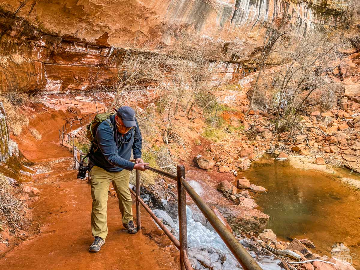 The Lower Emerald Pool Trail at Zion National Park in the winter.