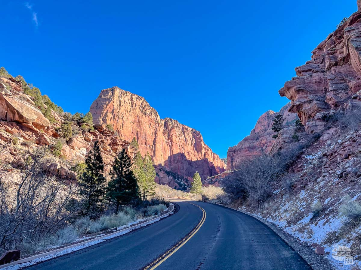 Kolob Canyon Road in Zion National Park in the winter.