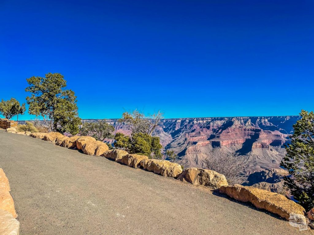 The Rim Trail is a mostly flat trail along the South Rim of the Grand Canyon.