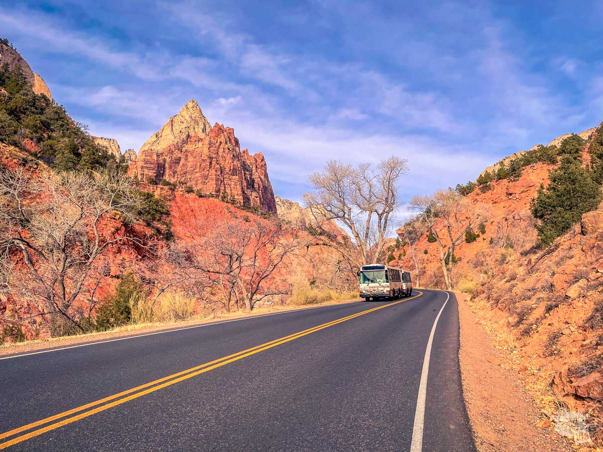 A shuttle bus on the Zion Canyon Scenic Drive.