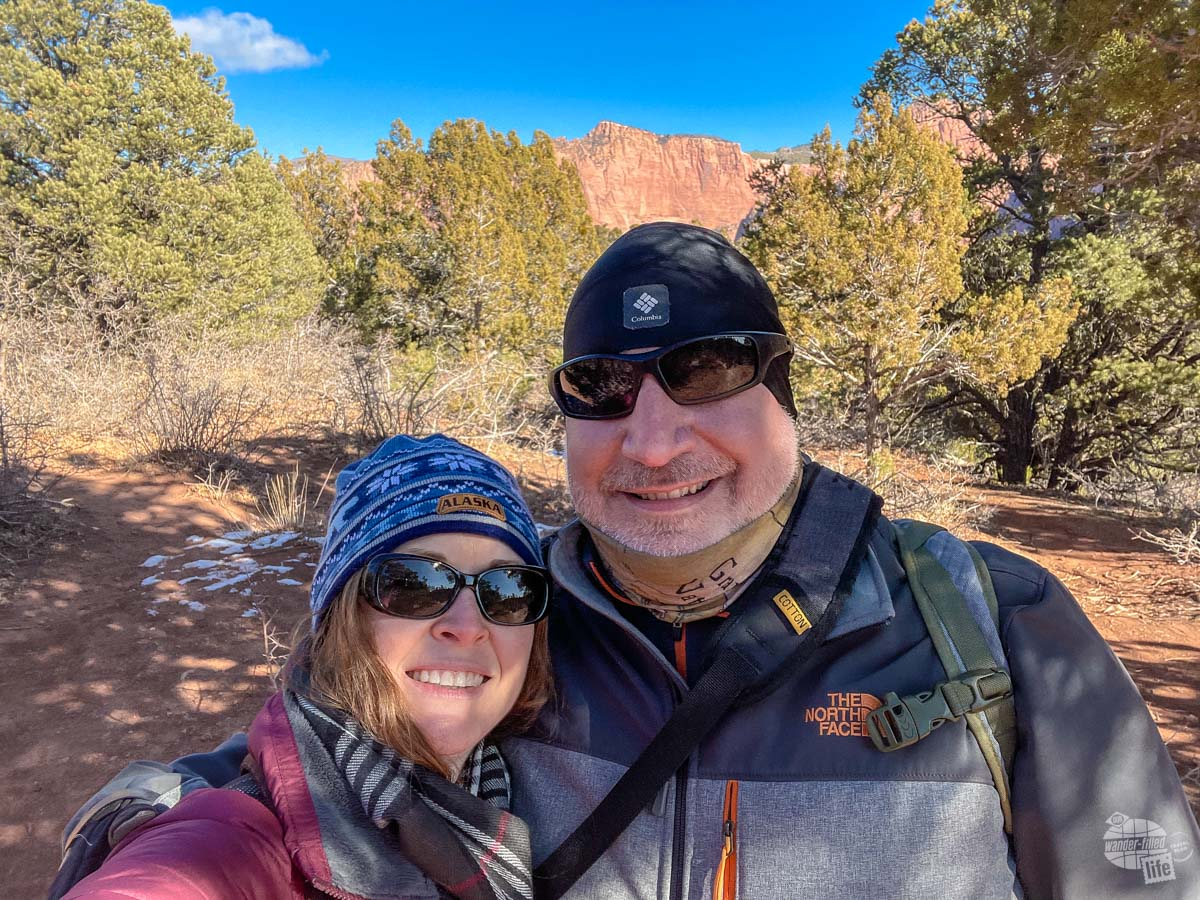 Hiking the Timber Creek Overlook Trail at Zion NP.