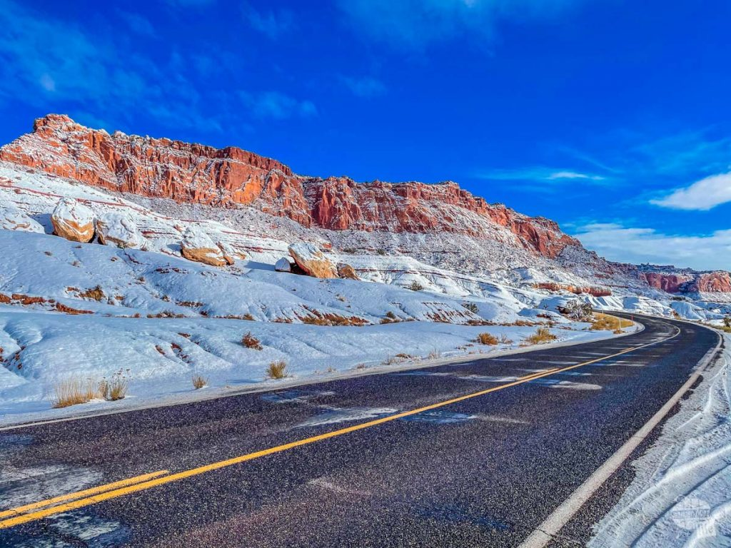 Along the road in Capitol Reef National Park in the winter