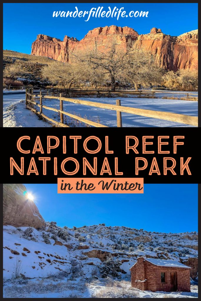 Exploring Capitol Reef National Park in the winter can be a truly magical experience, with snow-covered cliffs everywhere you look!