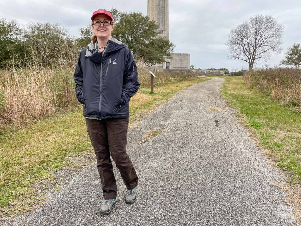 Bonnie walking on a short trail at the San Jacinto Monument.