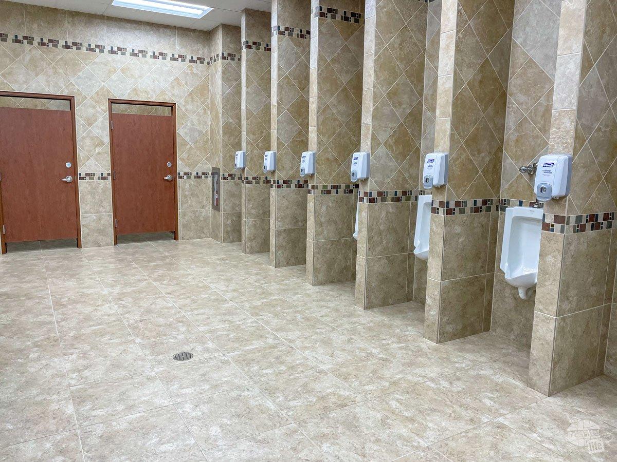 Dividers between the urinals in the Buc-ee's bathroom.