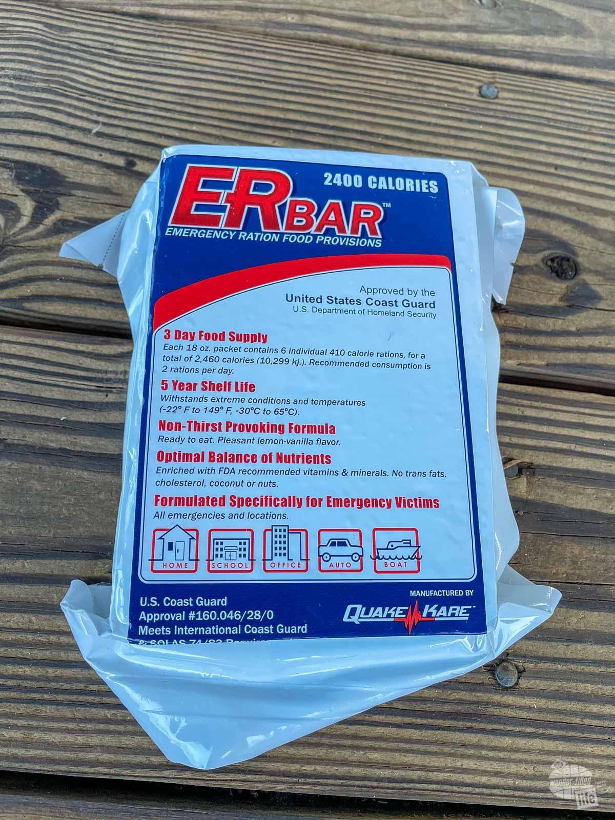 An ER Bar ration bar