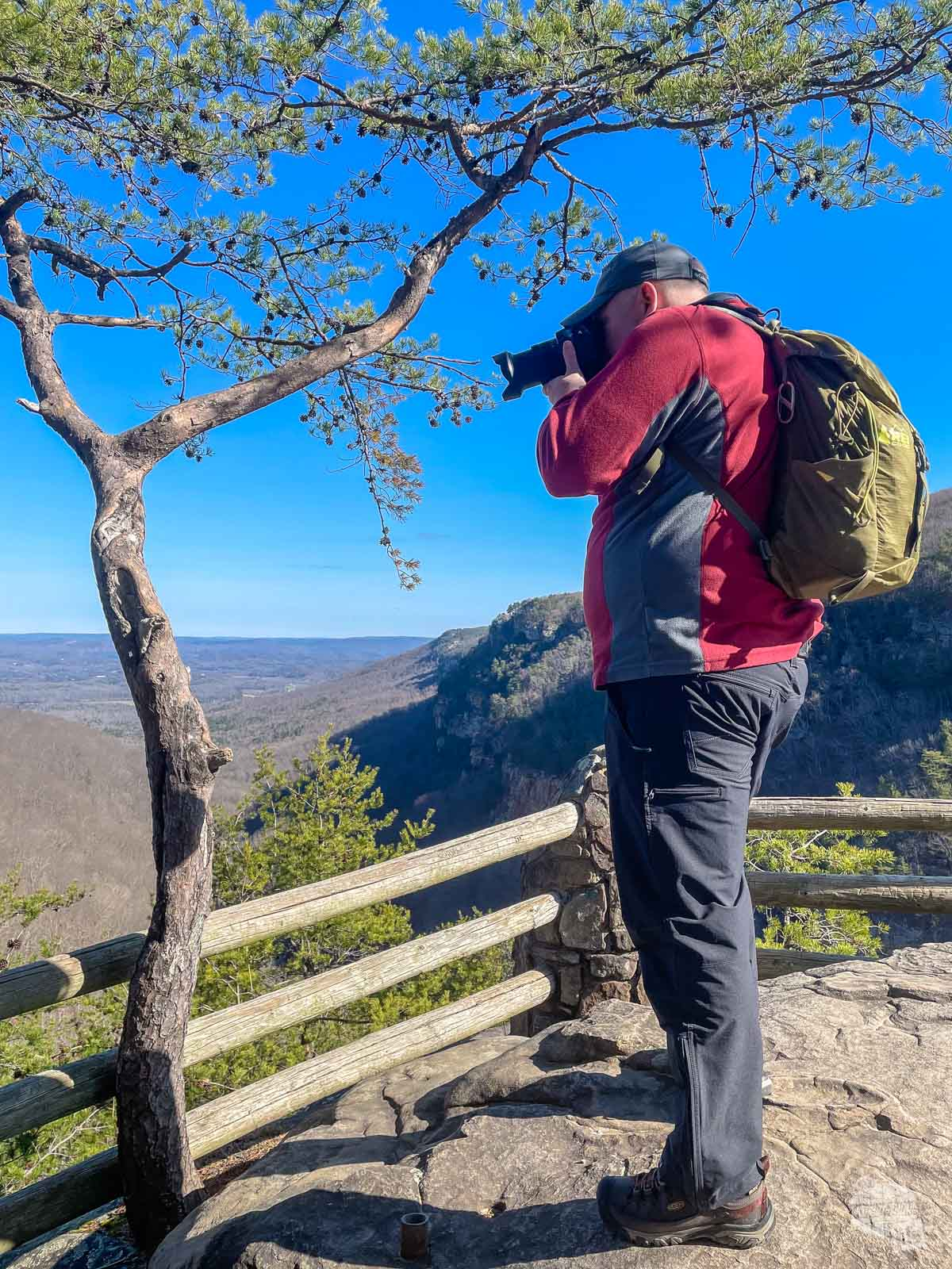 Grant taking a picture in Cloudland Canyon. He's wearing KUHL Klash pants, which are great for hiking in cold weather.