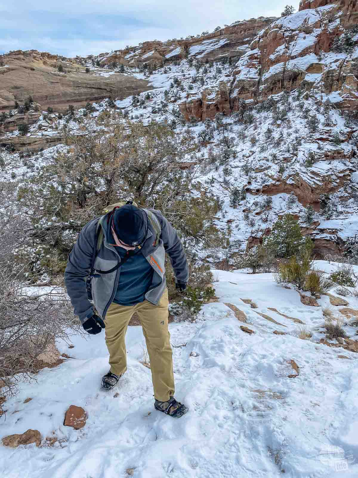 Grant hiking in the snow at Colorado National Monument