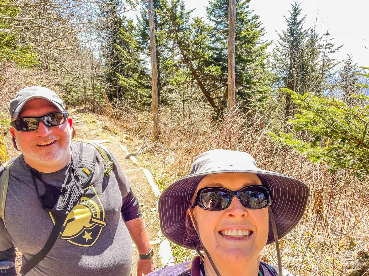 Grant and Bonnie on the Andrews Bald Trail, one of the best Great Smoky Mountains National Parks hikes.