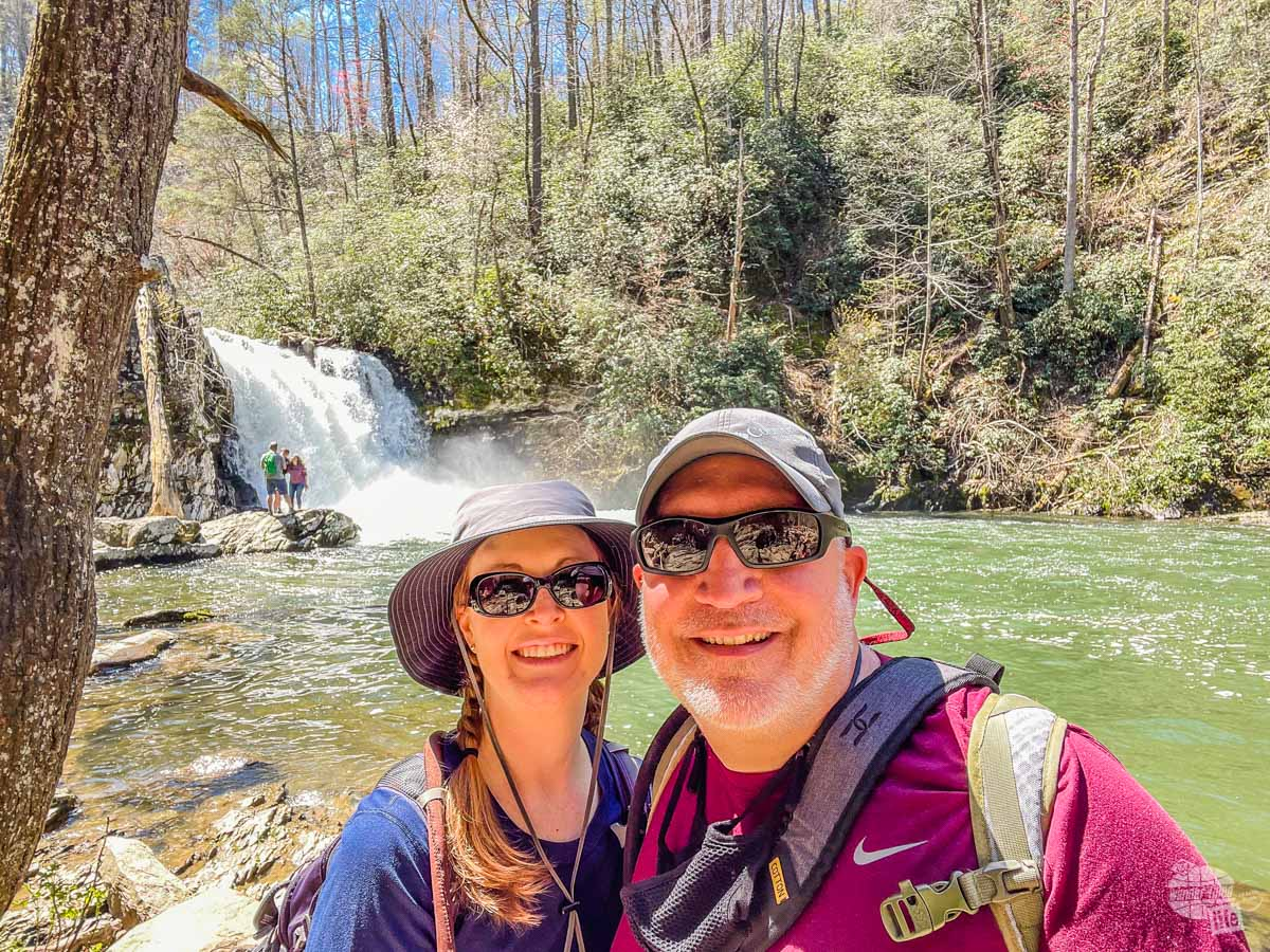 Selfie at Abrams Falls, one of our favorite Great Smoky Mountains National Park hikes.