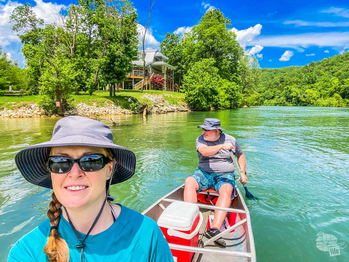 Bonnie and Grant canoeing at Ozark National Scenic Riverways.