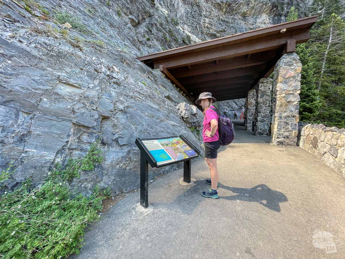 Shelter and information sign at the entrance to the cave at Timpanogos Cave National Monument.