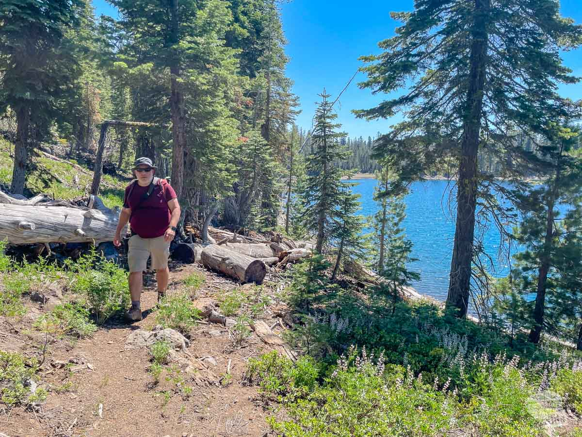 Hiking along Juniper Lake at Lassen Volcanic National Park.