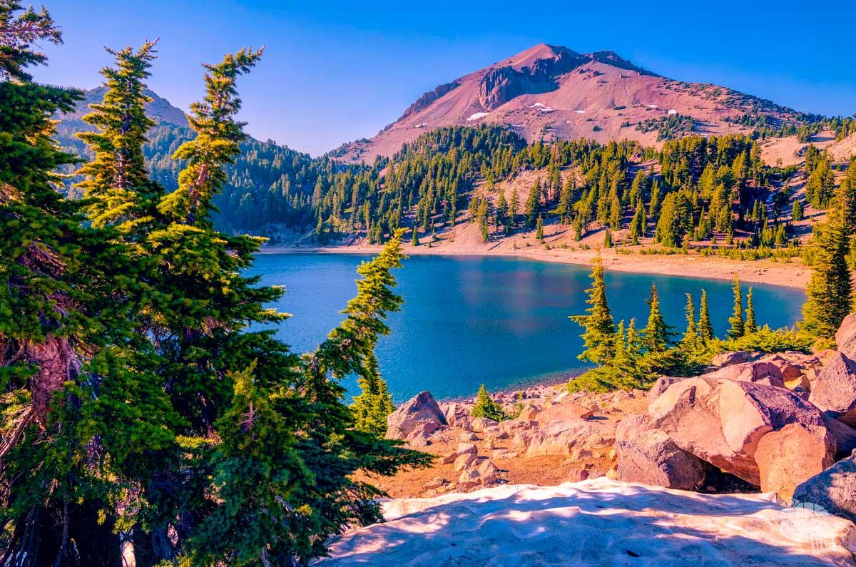 Lassen Peak is just one volcanic peak at Lassen Volcanic National Park.
