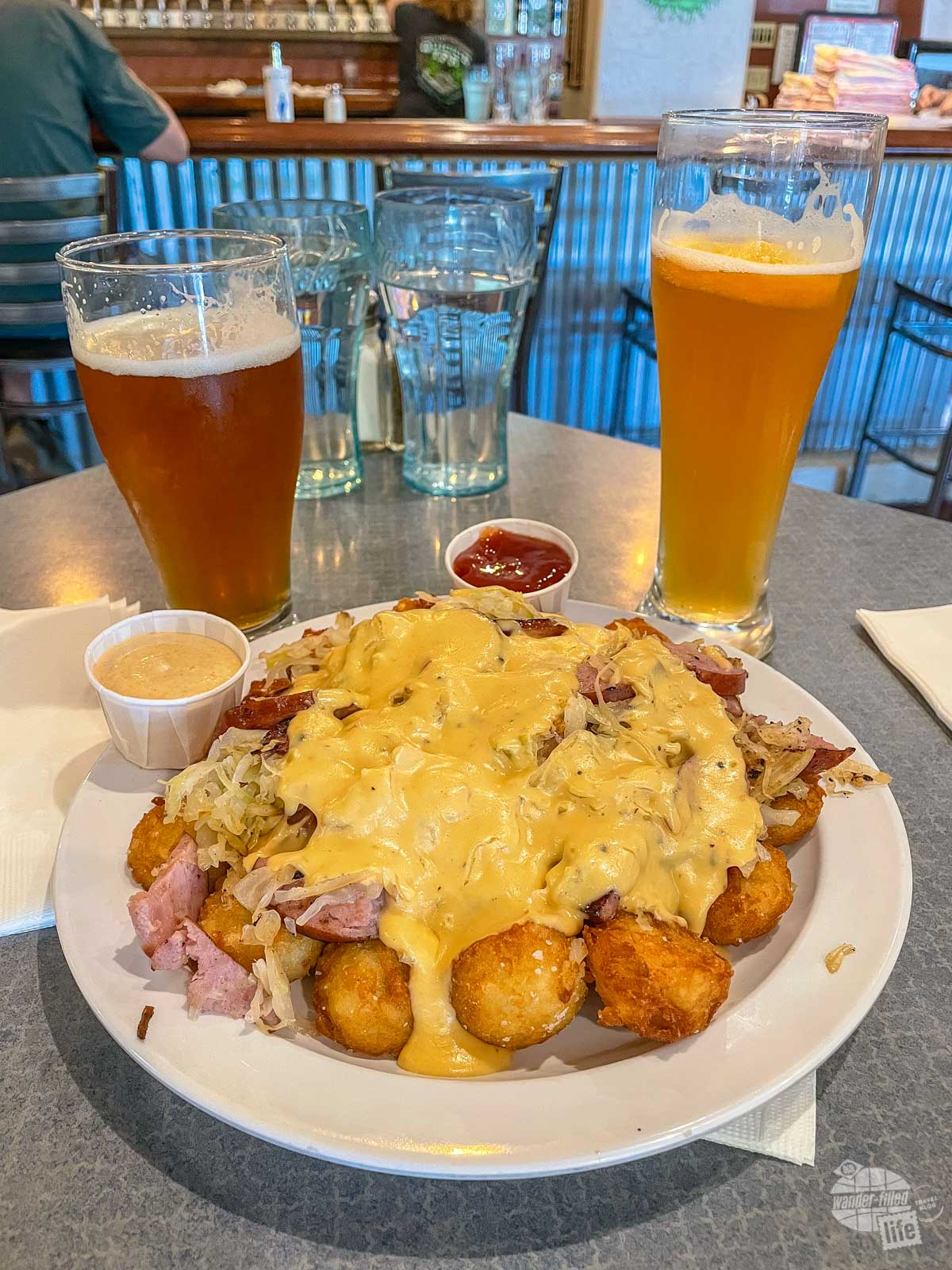 Tater Tots and Beer from Woody's Brewing