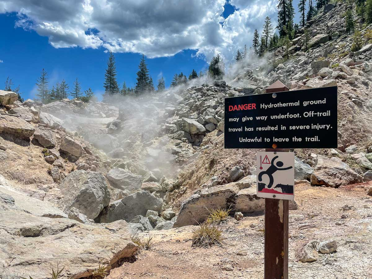 A warning sign in Lassen Volcanic National Park.