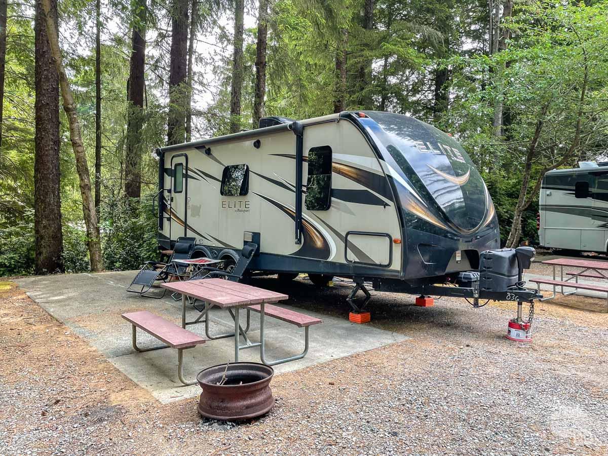 Campsite at the Village Camper Inn in Crescent City, CA