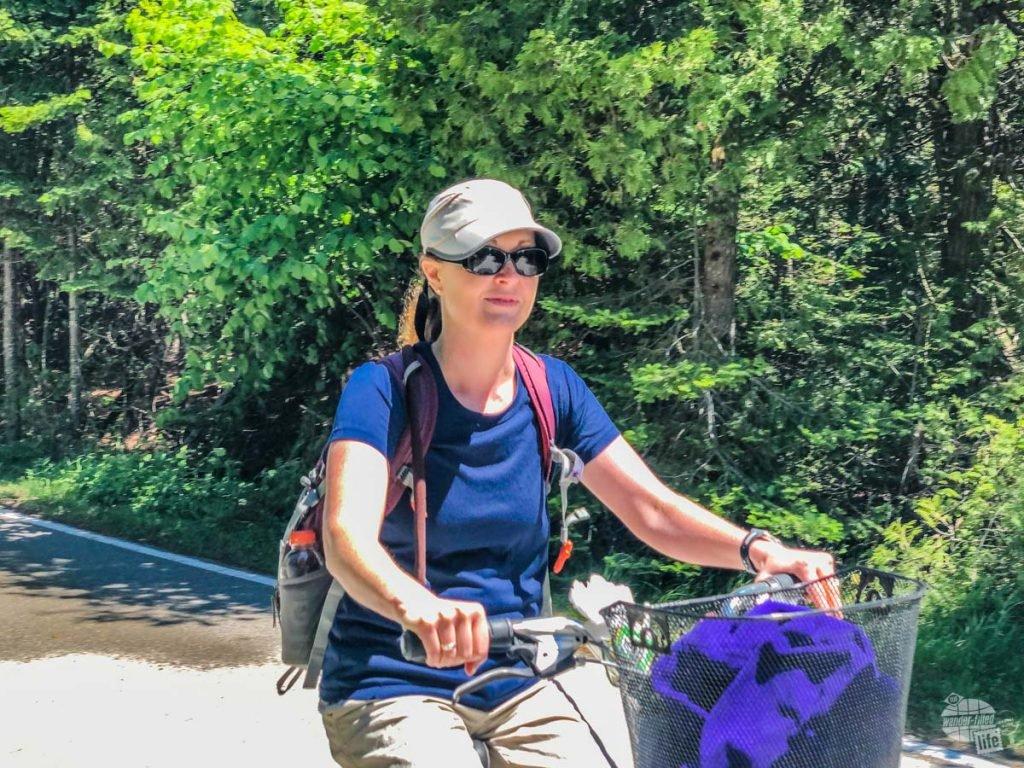 Bonnie biking on Mackinac Island.