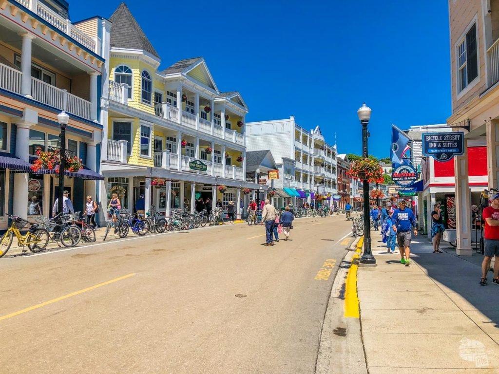 Shops and restaurants line Main Street on Mackinac Island