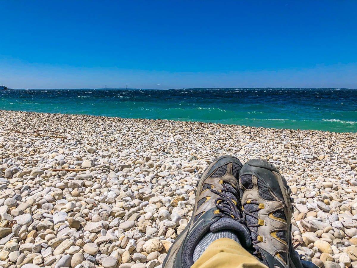 The pebble beach on Mackinac Island.