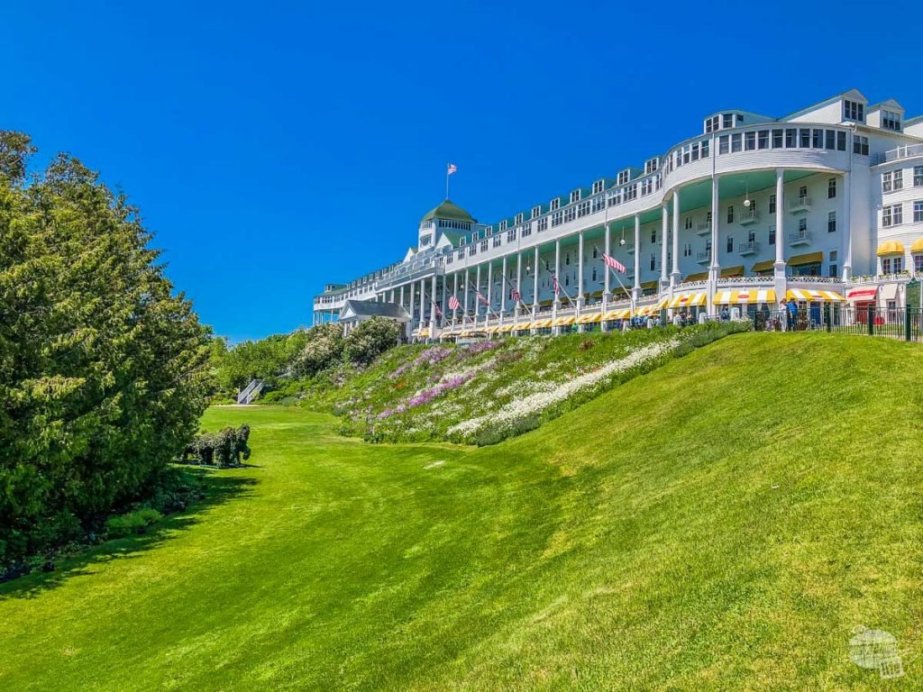 The long porch at the Grand Hotel on Mackinac Island