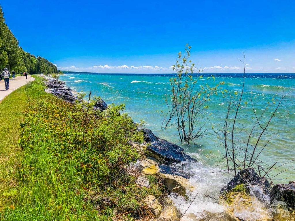The shoreline of Mackinac Island and the Perimeter Road.