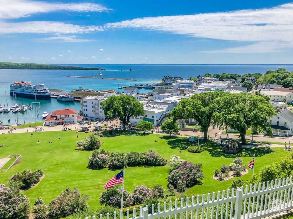 View of Marquette Park on Mackinac Island from the fort.