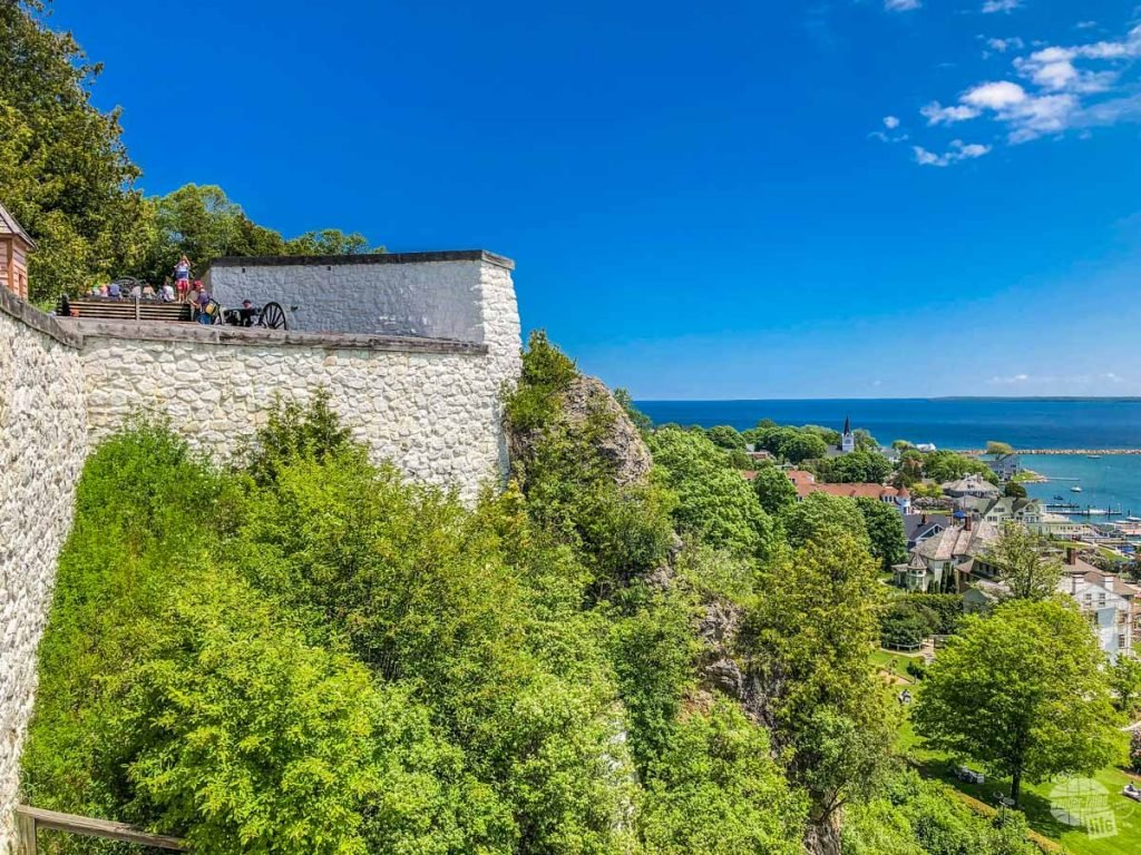 The walls of Fort Mackinac, high above the city on Mackinac Island.