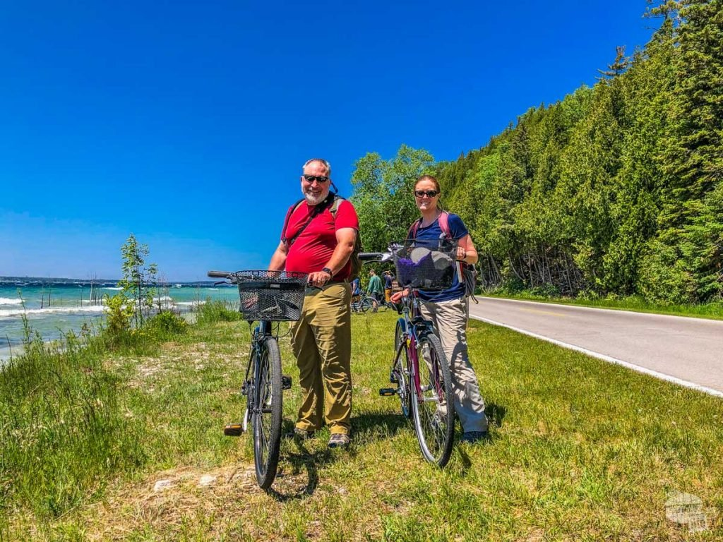 Grant and Bonnie with bikes on Mackinac Island.